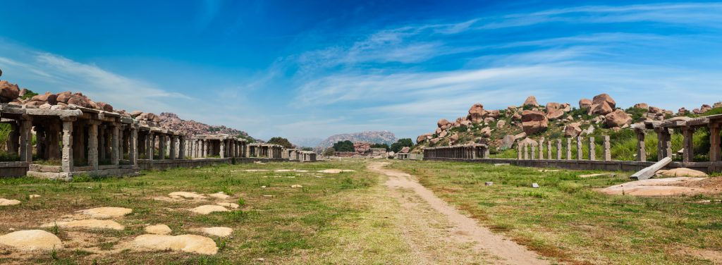 Panorama of Hampi Ruins explored on the cycle tour of the region