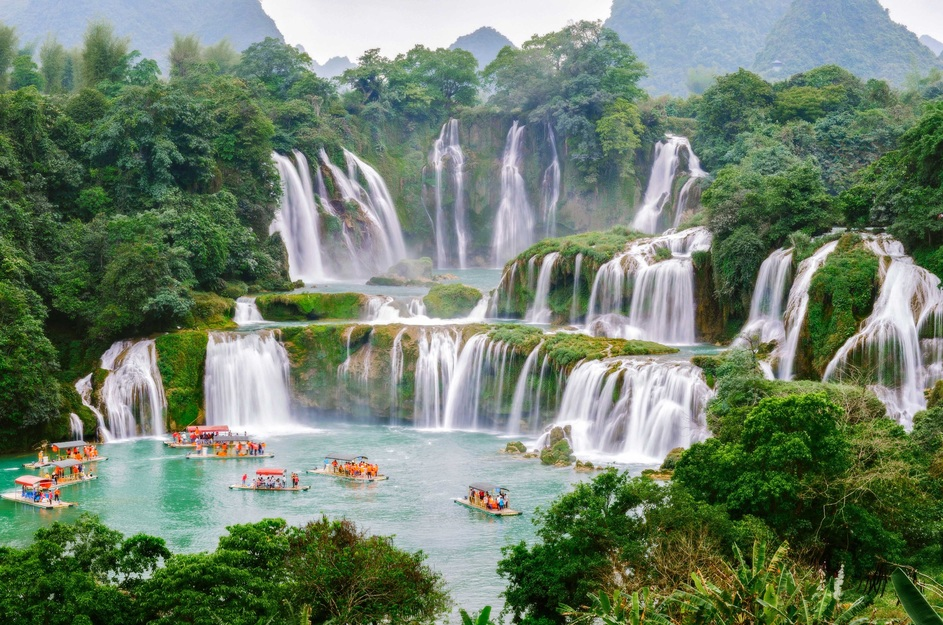 Ban Gioc Falls , in Northern Vietnam as seen on our Vietnamese Journeys