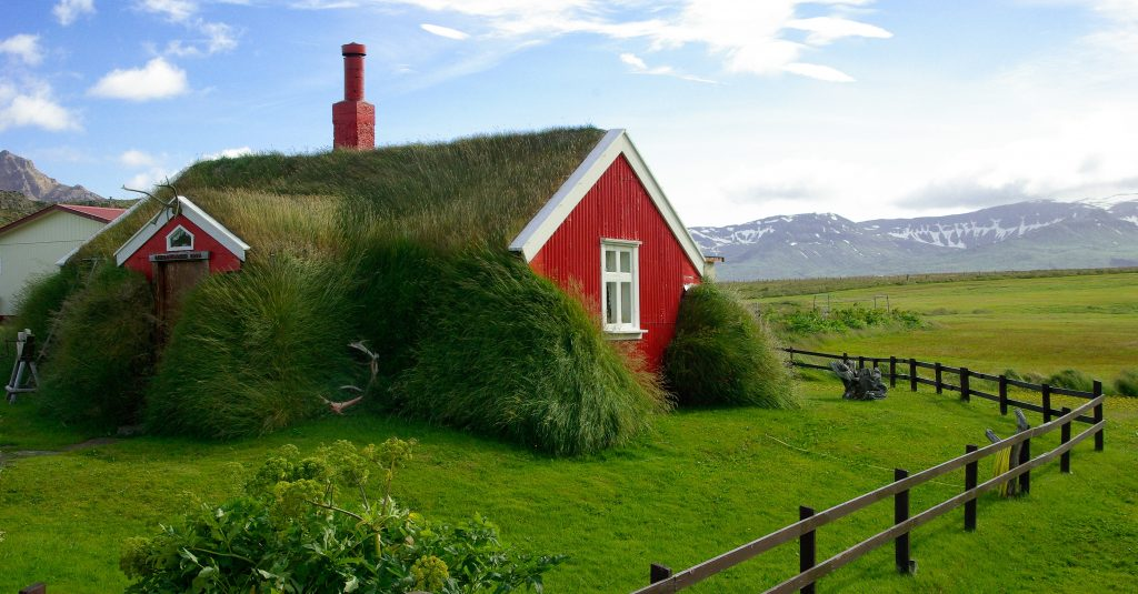 Grass roofed houses of the Icelandic countryside we get to visit on our road trip through the country