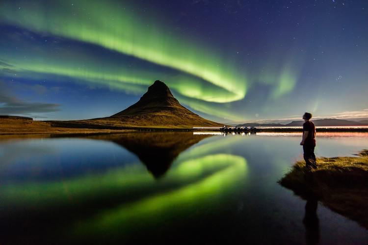 Aurora borealis over Icelandic sky in winters