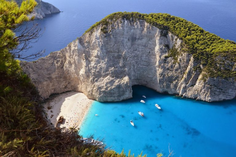 Zakynthos beach cove seen our our Greek sailing experience