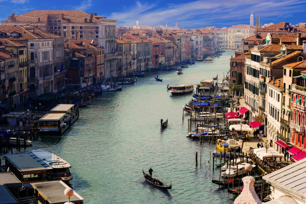 gondola ride across the grand canal of Venice on our Italian journeys