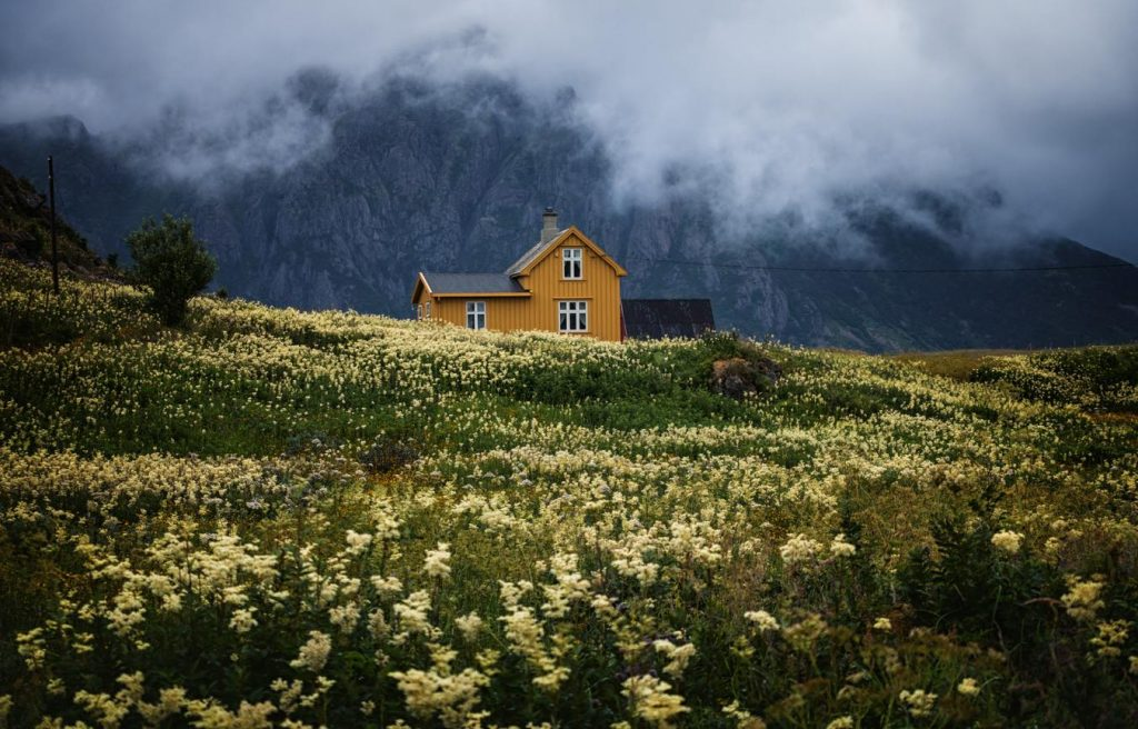 Incredibly pretty house amidst spectacular surroundings we get to see on our road trip through Norway